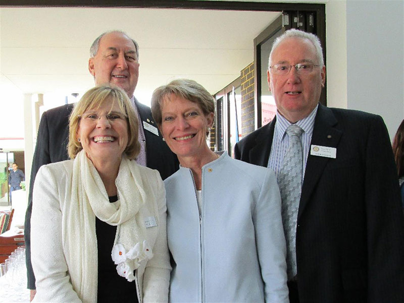 Southern Districts Rotary Directors Don King (rear) and John Simpson with Professor Lyn Beazley & Dr Penny Flett