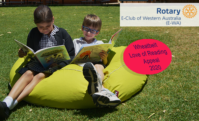 The Rotary Wheatbelt Swim for Reading Needs You - image shows a couple of kids sitting on a bean bag reading