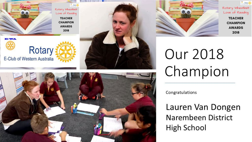 announcement of Lauren Van Dongen as Reading Teacher Champion for 2018