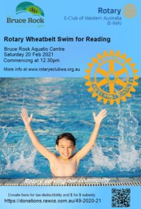 Poster image of the Rotary Wheatbelt Swim for Reading details with a kid who is cool in the pool!